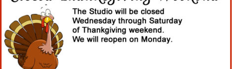 Closed Thanksgiving Weekend!